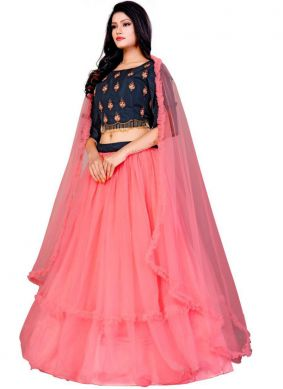 Affectionate Embroidered Net Hot Pink Trendy A Line Lehenga Choli