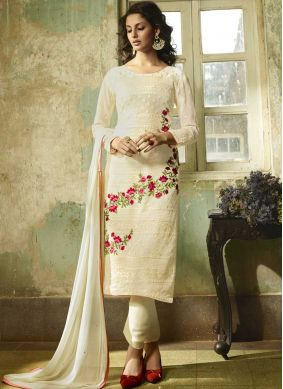 Affectionate Faux Georgette White Resham Churidar Designer Suit