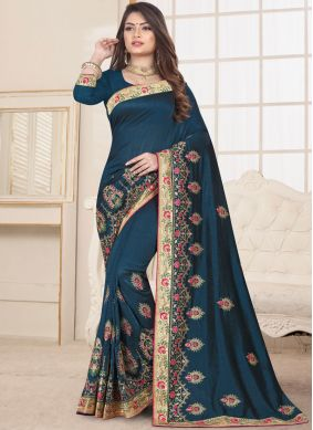 Affectionate Teal Ceremonial Designer Traditional Saree