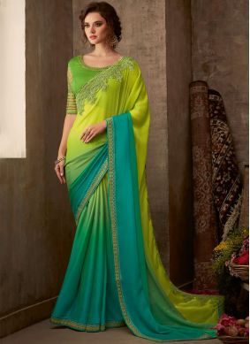 Alluring Aqua Blue and Green Classic Saree