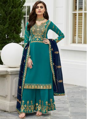 Alluring Trendy Palazzo Salwar Suit For Festival