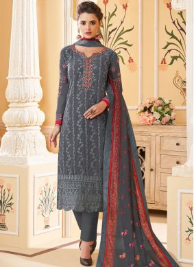 Amazing Embroidered Georgette Pant Style Suit