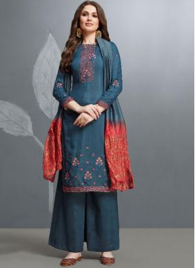 Amazing Teal Embroidered Palazzo Salwar Suit