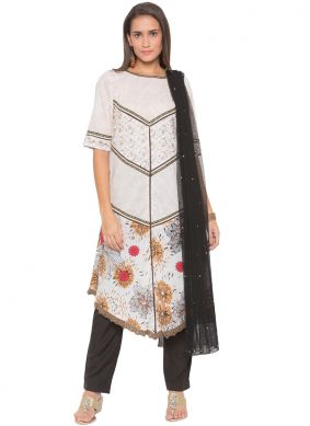 Amusing Embroidered Cotton White Readymade Suit