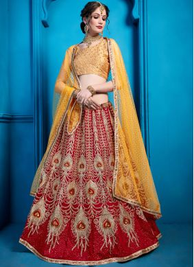 Amusing Embroidered Maroon Art Silk Designer Lehenga Choli