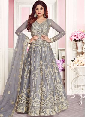 Amusing Embroidered Net Grey Anarkali Salwar Kameez