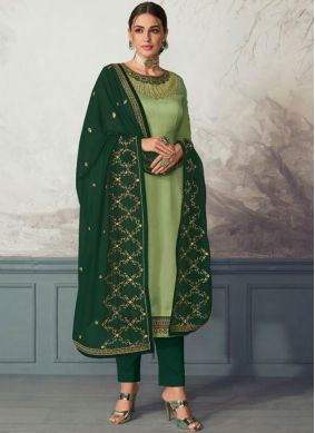 Amusing Green Embroidered Pant Style Suit