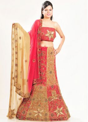 Amusing Multi Colour Patch Border Lehenga Choli