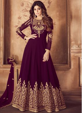 Anarkali Salwar Kameez Zari Georgette in Purple