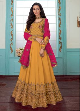 Anarkali Salwar Suit Embroidered Faux Georgette in Yellow