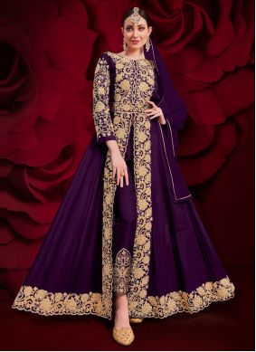 Anarkali Suit Embroidered Faux Georgette in Purple