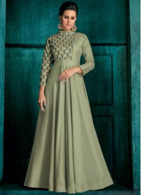 Anarkali Suit Embroidered Silk in Sea Green