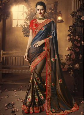 Angelic Embroidered Art Silk Traditional Designer Saree