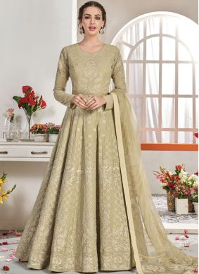 Angelic Faux Georgette Embroidered Beige Trendy Anarkali Salwar Suit