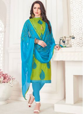 Angelic Green Embroidered Churidar Suit