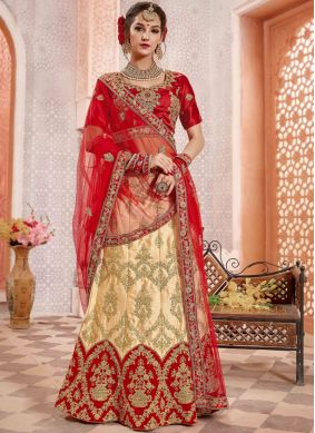Angelic Patch Border Satin Silk Red Lehenga Choli