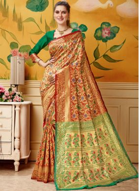 Angelic Woven Jacquard Cream and Red Designer Traditional Saree