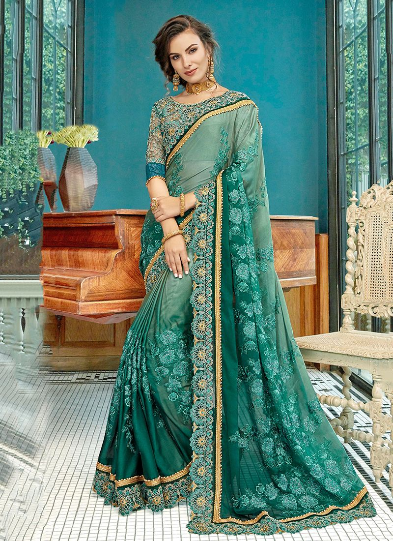 Appealing Embroidered Sea Green Shaded Saree