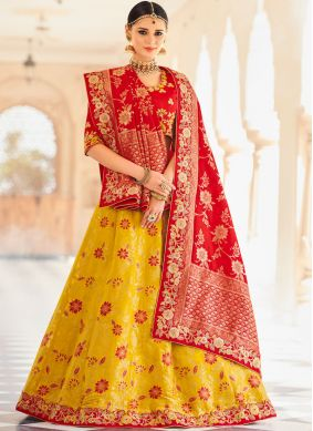 Appealing Red and Yellow Lehenga Choli