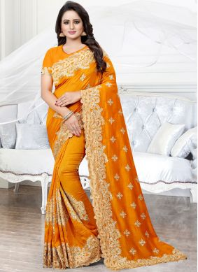 Appealing Stone Work Mustard Silk Traditional Saree
