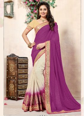 Applique Viscose Half N Half  Saree in Off White and Violet