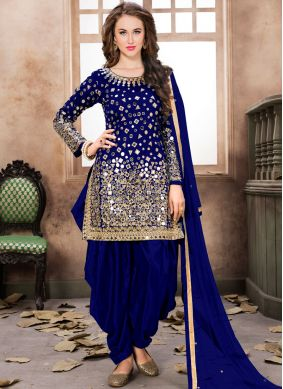 Aqua Blue and Blue Embroidered Tafeta Silk Trendy Patiala Salwar Kameez