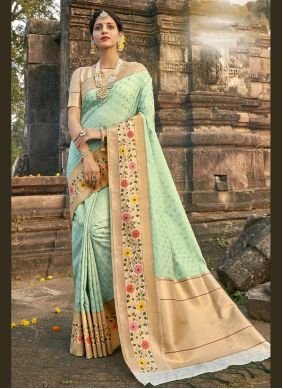 Aqua Blue Banarasi Silk Designer Traditional Saree
