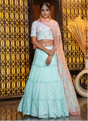 Aqua Blue Cotton A Line Lehenga Choli