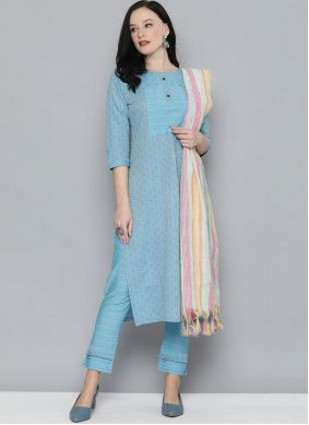 Aqua Blue Embroidered Handloom Cotton Pant Style Suit