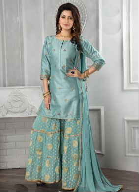 Aqua Blue Embroidered Party Salwar Suit