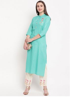 Aqua Blue Embroidered Rayon Kurta