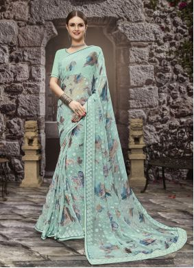 Aqua Blue Festival Printed Saree