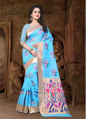 Aqua Blue Party Banarasi Silk Trendy Saree