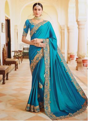 Aqua Blue Silk Reception Designer Contemporary Saree