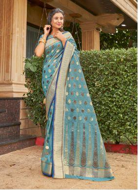 Aqua Blue Weaving Classic Saree