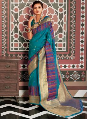 Aqua Blue Weaving Silk Classic Saree