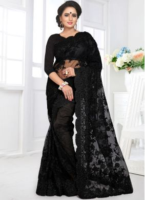 Aristocratic Embroidered Black Designer Saree