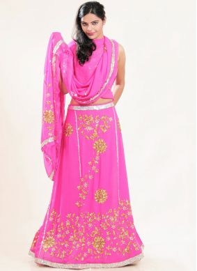 Aristocratic Embroidered Faux Georgette Hot Pink Lehenga Choli