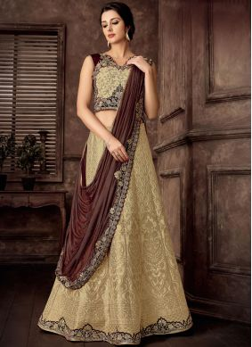 Aristocratic Jacquard Silk Beige Embroidered Lehenga Style Saree