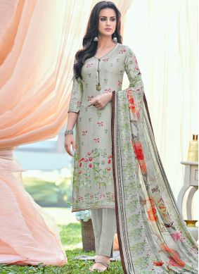 Arresting Satin Printed Pant Style Suit