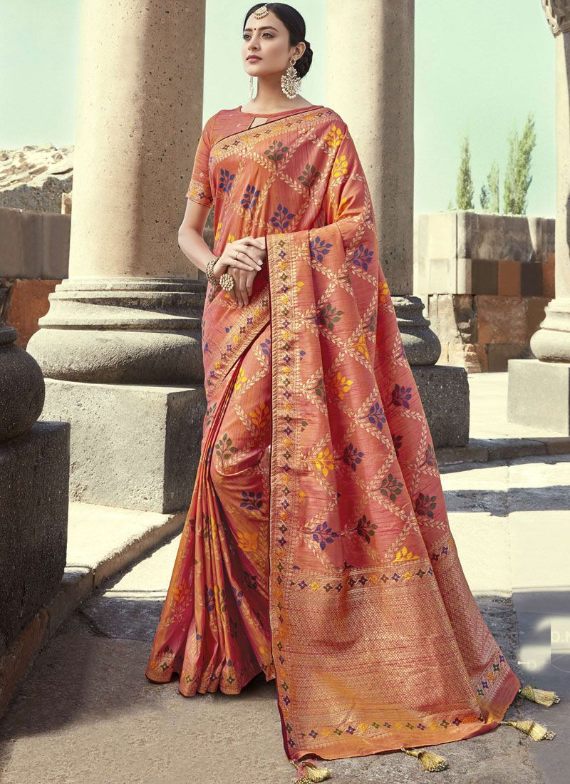 Art Banarasi Silk Embroidered Peach Designer Traditional Saree