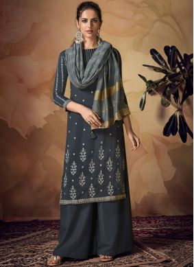 Art Banarasi Silk Grey Embroidered Salwar Suit
