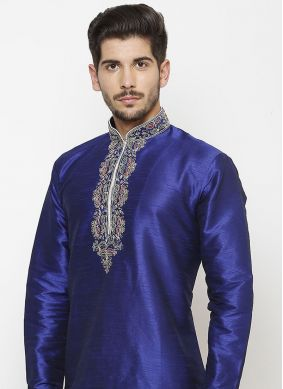 Art Dupion Silk Blue Kurta
