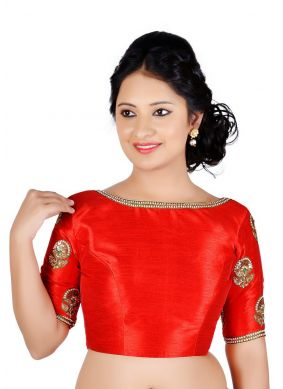 Art Dupion Silk Designer Blouse in Red