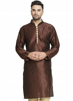 Art Dupion Silk Embroidered Brown Kurta