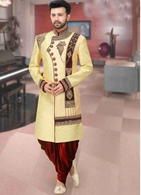 Art Dupion Silk Gold Sherwani