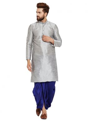Art Dupion Silk Grey Plain Dhoti Kurta