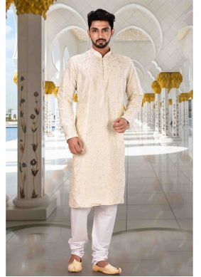 Art Dupion Silk Machine Embroidery  Kurta Pyjama in Cream