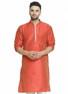 Art Dupion Silk Rust Kurta