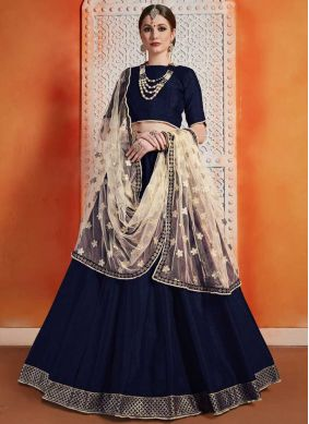 Art Silk A Line Lehenga Choli in Navy Blue